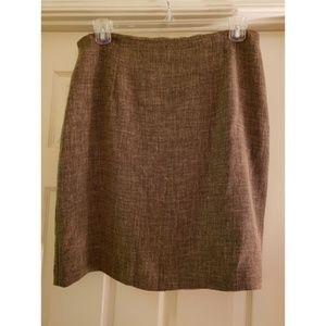 Jones New York Skirt Burlap Texture Brown Black